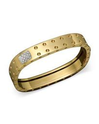 18K Yellow Gold Pois Moi Double Row Diamond Bangle