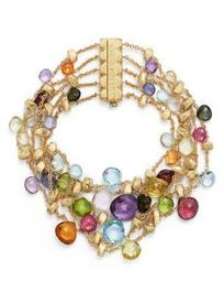 18K Yellow Gold Paradise Five Strand Mixed Stone Bracelet