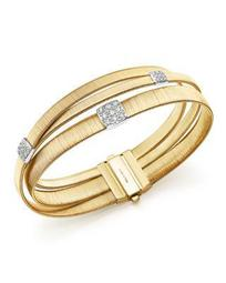 18K Yellow Gold Masai Three Strand Crossover Diamond Bracelet