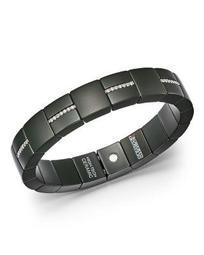 18K White Gold & Matte Black Ceramic Domino Square Stretch Bracelet with Diamonds