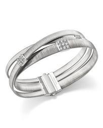 18K White Gold Masai Three Strand Crossover Diamond Bracelet