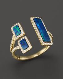 Yellow Gold Opal Double Bar Open Ring