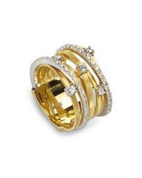 18K Yellow Gold Goa Seven Row Ring with Diamonds