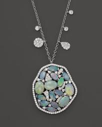 "14K White Gold Mosaic Opal Pendant Necklace, 18"""