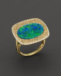 14K Yellow Gold Opal Square Ring with Diamonds