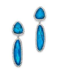 14K White Gold Chrysocolla Doublet and Diamond Dangle Earrings
