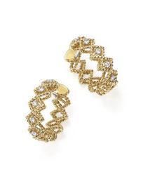 18K Yellow Gold New Barocco Diamond Hoop Earrings