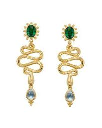 18K Yellow Gold Serpent Drop Earrings with Royal Blue Moonstone, Tsavorite and Diamonds