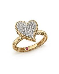 18K Yellow Gold Tiny Treasures Diamond Heart Ring