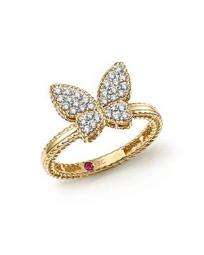 18K Yellow Gold Tiny Treasures Diamond Butterfly Ring