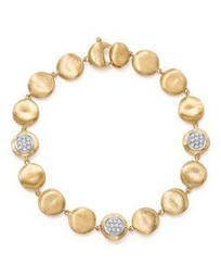 18K Yellow Gold Diamond Pavé Jaipur Link Small Beaded Bracelet