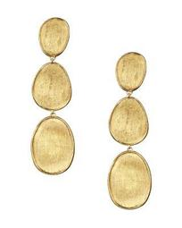 18K Yellow Gold Lunaria Three Tiered Drop Earrings