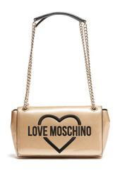 Front Logo Print Chain Accent Shoulder Bag