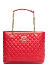 Chain Accent Quilted Shoulder Bag