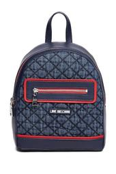 Quilted Denim & PU Backpack