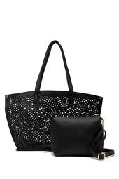 Linnie Perforated Tote With Pouch