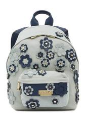 Eartha Leather Trimmed Hex Floral Applique Small Backpack