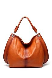 Camelia Brown Leather Tote Shoulder Handbag
