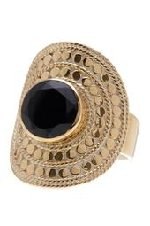 18K Gold Plated Black Onyx Large Cocktail RIng