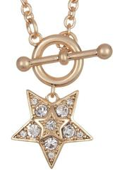 Prong Set Glass Crystal Star Pendant Necklace