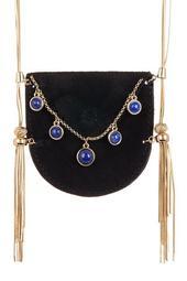 Ullie Fringe Velvet Pouch Pendant Necklace