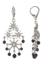 Glass Crystal Embellished Star with Beading Chandelier Earrings