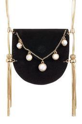 Ullie Fringe Velvet Pouch Necklace