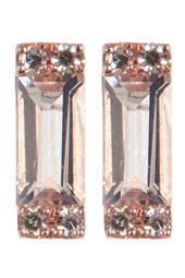 14K Rose Gold Baguette White Topaz & Diamond Detail Stud Earrings