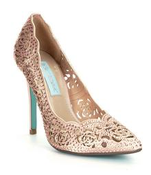 Blue by Betsey Johnson Elsa Jeweled Laser-Cut Satin Pointed-Toe Pumps
