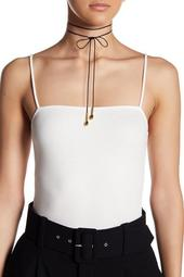 24K Gold Plated Leather Dottie Choker
