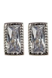 Sterling Silver Swarovski Crystal Rectangle Cut Studs