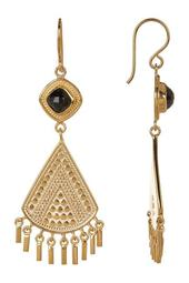 18K Gold Plated Black Onyx Stone Fringe Earrings