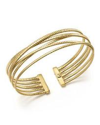 14K Yellow Gold Ribbed Five Row Crossover Cuff - 100% Exclusive