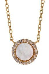 18K Gold Plated Sterling Silver Mother of Pearl CZ Pendant Necklace