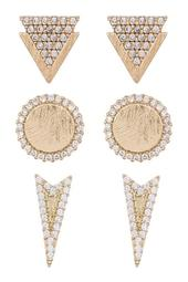 Geo Pave Earrings - Set of 3