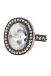 Two-Tone Radiance Pave CZ Edge Cocktail Ring