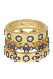 Two-Tone Mixed Clover CZ Accent Ring Set - Size 5