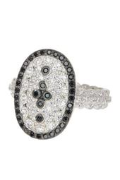 Two-Tone White & Black CZ Accent Clover Ring - Size 5