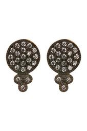 Two-Tone CZ Accent Disc & Clover Stud Earrings
