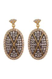 Contemporary Deco Pave CZ Drop Earrings