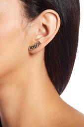 Double Helix Balck CZ Pave Lattice Ear Crawler Earrings
