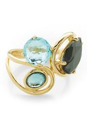 Rock Candy 18K Yellow Gold Prong & Bezel Set Stone Squiggle Ring - Size 7