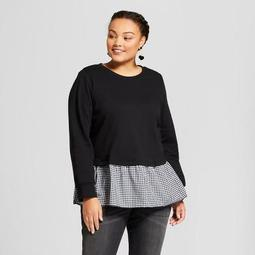 Women's Plus Size Mixed Media Sweatshirt - Ava & Viv™