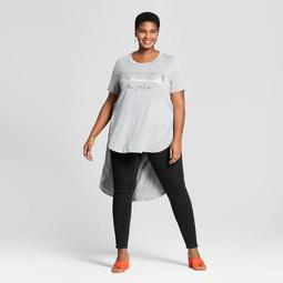 Women's Plus Size Graphic High-Low Short Sleeve T-Shirt - Ava & Viv™ Heather Gray