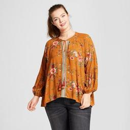 Women's Plus Size Long Sleeve Peasant Top - Xhilaration™