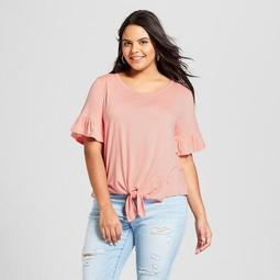 Women's Plus Size Short Sleeve Tie Front T-Shirt - Xhilaration™