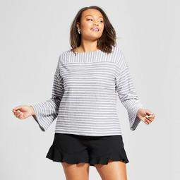 Women's Plus Size Long Sleeve Striped Button-Back Top - A New Day™