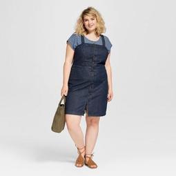 Women's Plus Size Button Front Apron Denim Dress  - Universal Thread™