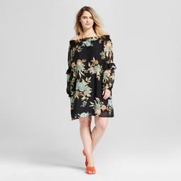 Women's Plus Size Floral Off the Shoulder Dress with Ruffle Sleeve - Xhilaration™ Black