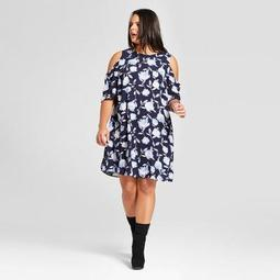 Women's Plus Size Cold Shoulder Dress - Xhilaration™ Blue Floral